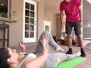 Stepmom seducing him with yoga exercise
