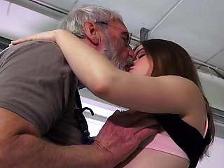 Euphoric party girl is ass slapped and fucked by her ancient hubby