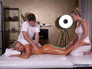 Massage Rooms Oil soaked sensual blonde Czech FFM threesome