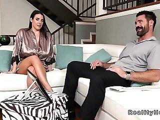 Huge natural tits roomie bangs in sofa
