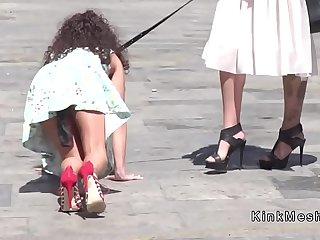 Public petite slave disgraced in downtown