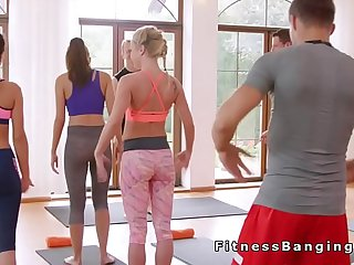 Blonde getting creampie in fitness gym