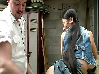 Asian girl gets a hard cock up the ass