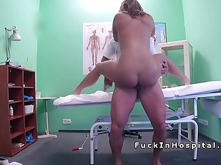 Patient hard rides doctors dick in office