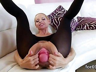 Lesbian honeys open up their deep assholes and nail big dildos