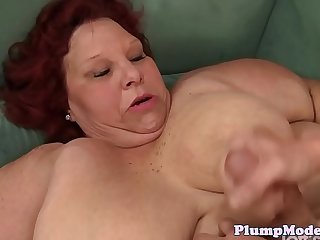 Doggystyled redhead SSBBW gets mouthfucked