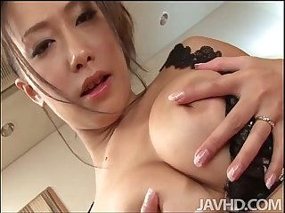 Yayoi Yanagida in a lacey bra plays with her big tits for her fuck buddy driving