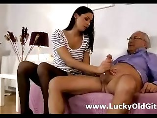 Cute young babe in stockings sucks and fucks older guy