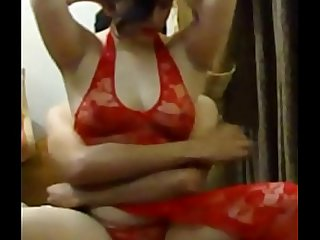 Cheating Pakistani Indian MILF Wife Fucked by Her Neighbour in Red Lingerie