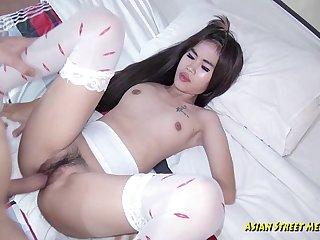 Asian Cream In Black Underwear